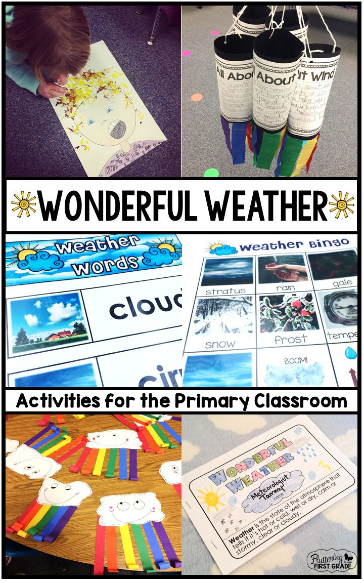 """Weather activities for the primary classroom.  Great painting """"Look who the wind blew in!"""" with straws and watered down tempra!"""