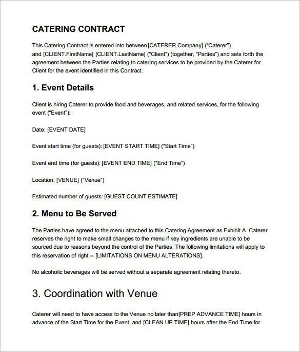 Contract For Catering Services Template Inspirational Catering