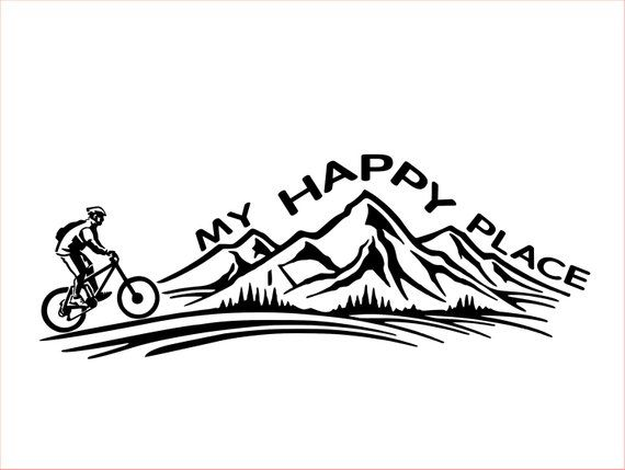 Mountain Biking Decal My Happy Place Tatuajes Bicicletas