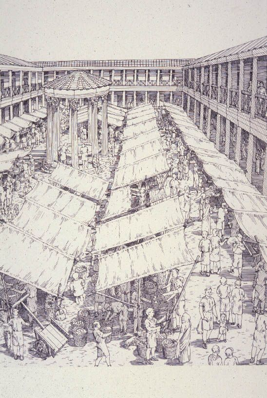 """A macellum is an ancient Roman indoor market building that sold mostly provisions. The building normally sat alongside the forum and basilica, providing a place in which a market could be held. Image from """"City: A Story of Roman Planning and Construction"""" by David Macaulay."""