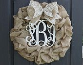 Items similar to Summer Wreaths for door - Burlap wreath - Monogram Wreath - Fall Wreath -Summer Wreath - Door Wreath - Wreath for Door - Fall Wreath on Etsy