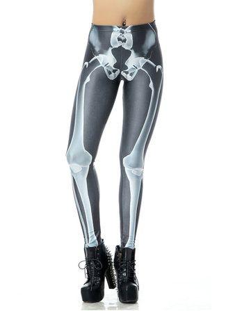 Sexy Halloween Women Skull Digital Printing Stretch Skinny Pants