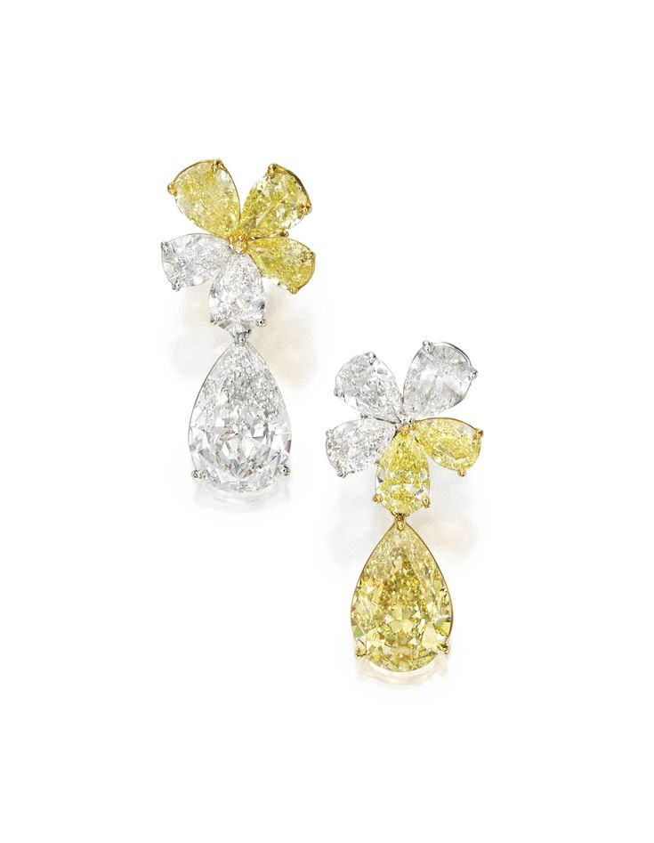 Pair of Platinum, 18 Karat Gold, Fancy Intense Yellow Diamond and Diamond Pendant-Earrings | lot | Sotheby's