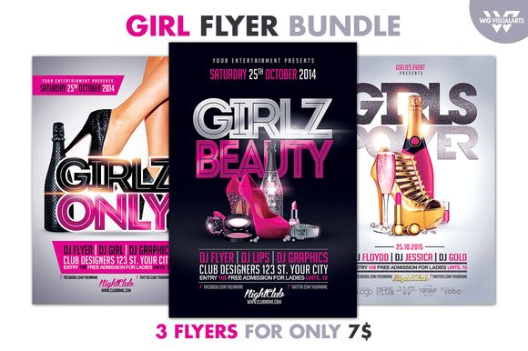 GIRL WOMAN Flyer Bundle by WG-VISUALARTS on Creative Market