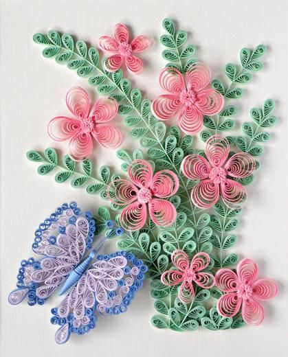 Quilling butterfly and flower pattern art quilling for Paper quilling designs