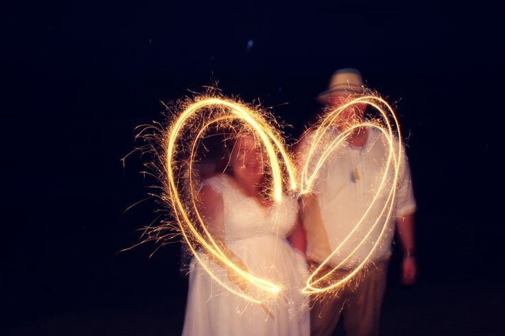 Plus size beach wedding heart sparklers