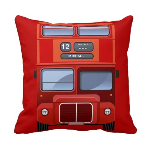 Old London Red Double Decker Bus Pillow