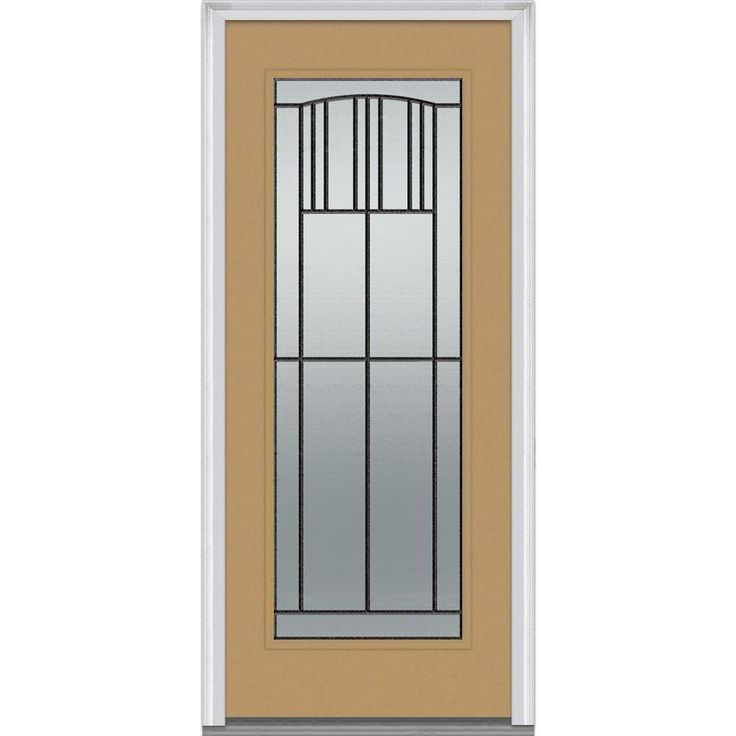 Milliken Millwork 33.5 in. x 81.75 in. Madison Decorative Glass Full Lite Painted Majestic Steel Exterior Door, Sandal