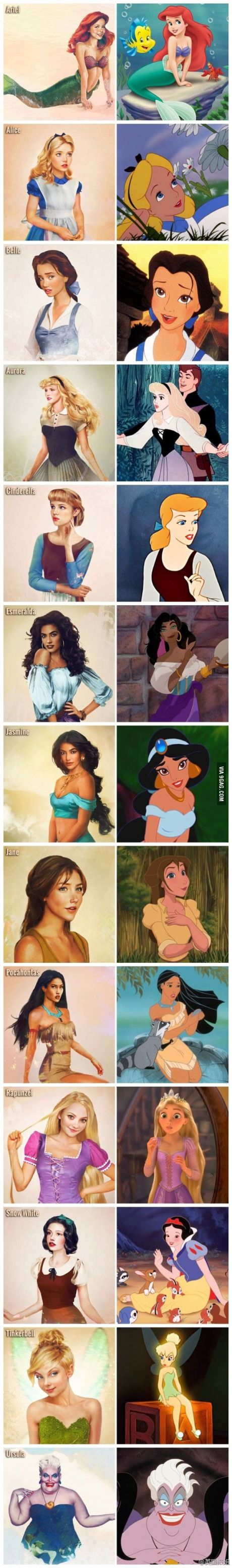 Realistic Disney characters - notice the eyes... So much less creepy
