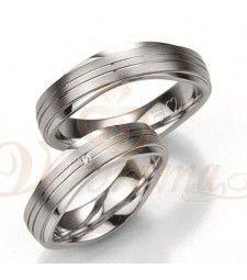 Ασημένιες βέρες γάμου με διαμάντι - breuning - 8013-8014