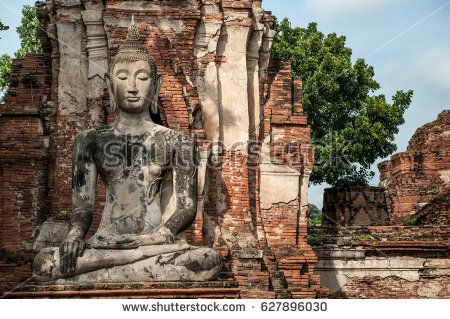Phra Nakhon Si Ayutthaya, Thailand - Sept 25,2010: Ayutthaya Historical Park, Archaeological site that contains palaces, Buddhist temples, monasteries and statues. :