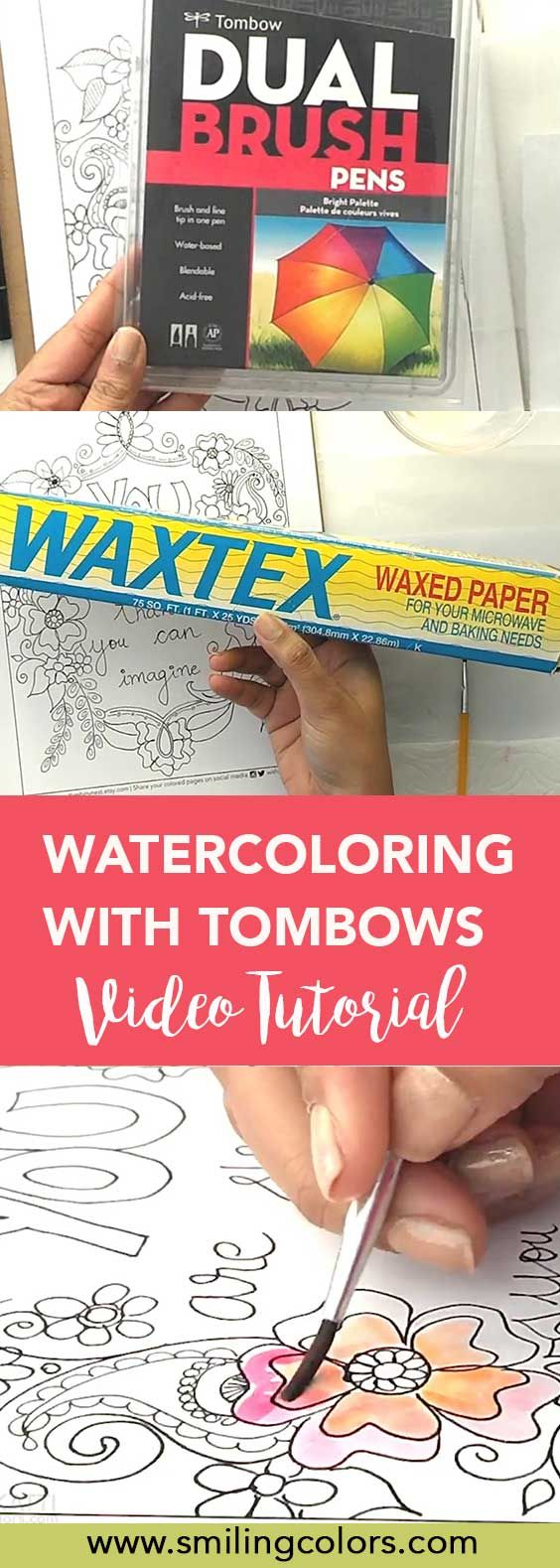 Wax paper as palette for watercoloring using markers