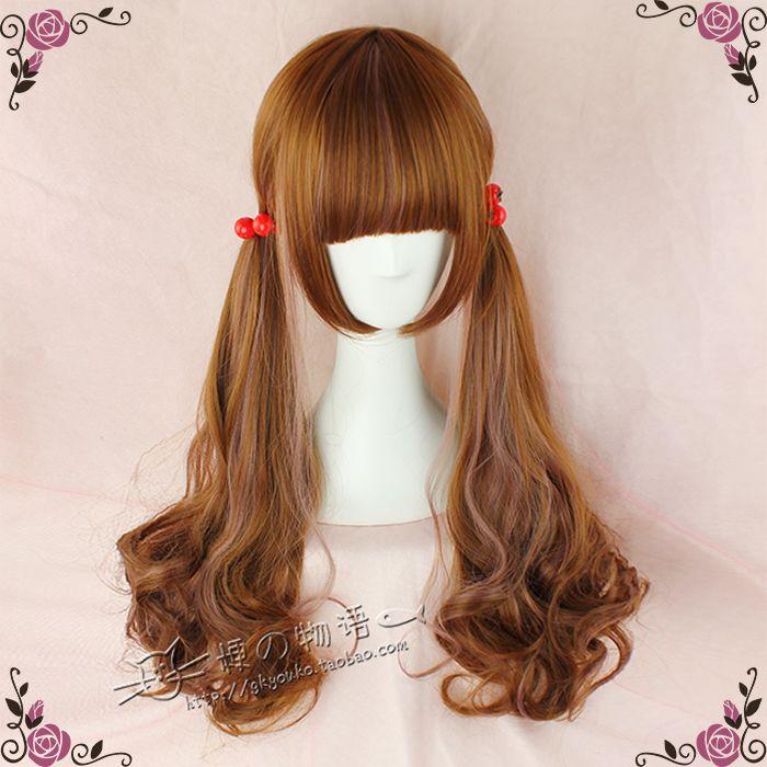 kyouko wig | Exclusive paragraph Lolita cos daily natural brown / vanilla color streaked hair 70cm
