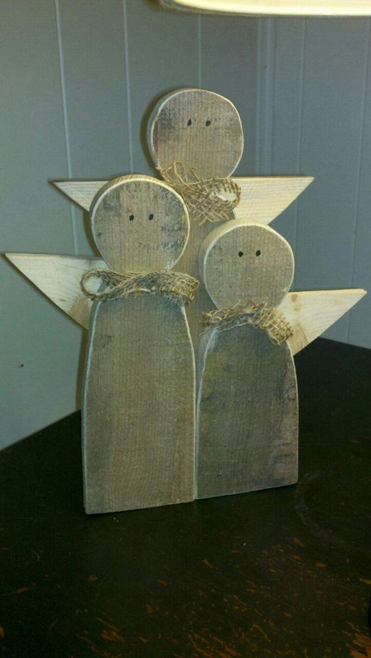 Hand Crafted Rustic Wooden Angels