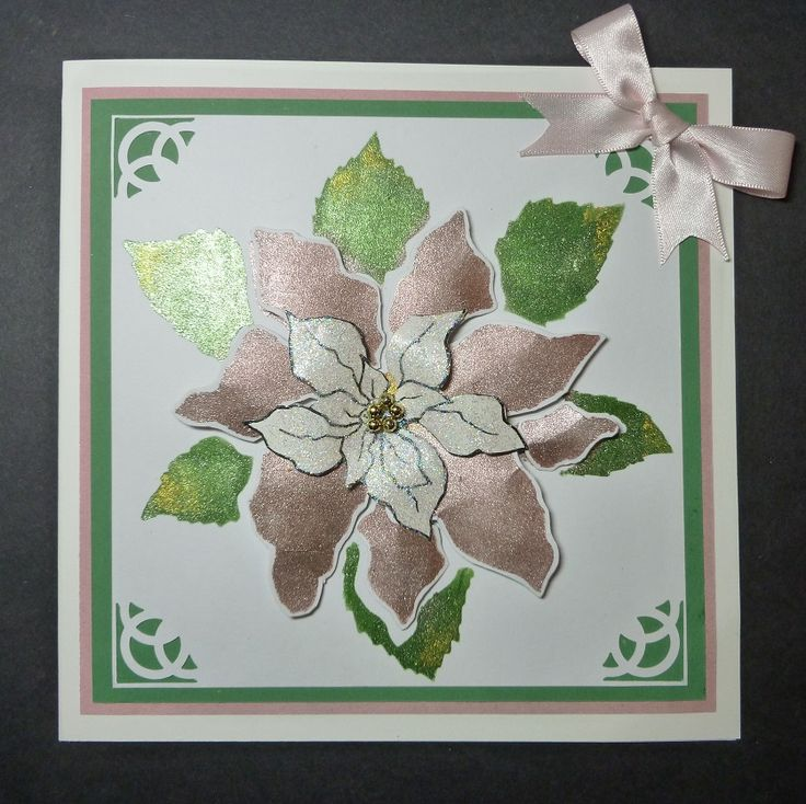 'Pink Poinsettia' card. - Imagination Craft's - Antique pink, Antique gold & Emerald Starlight paints.   Large Poinsettia stencil.  Diamond Sparkle Medium.   Magi-bond glue.  Poinsettia decoupage stamp set.  Brayer.  Black ink pad.  Gold beads.   November 2016.  Designed by Jen nifer Johnston.
