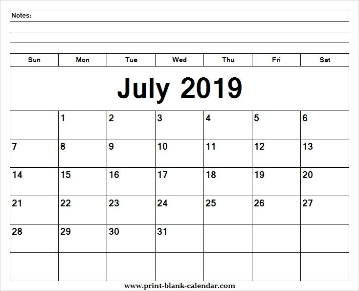 Printable Calendar July 2019 Template Pdf Excel Word Image