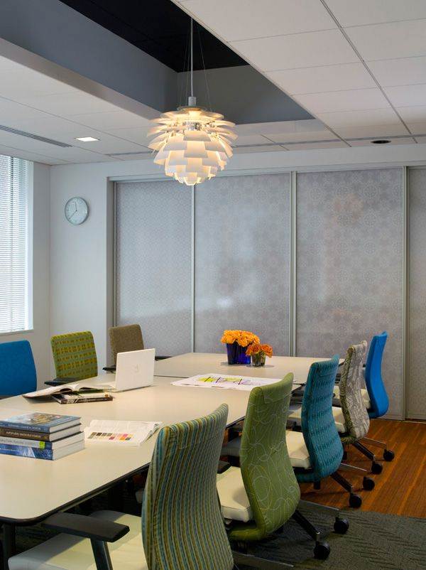NCIDQ conference room - love the different color chair backs!
