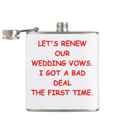 VOWS HIP FLASK - married gifts wedding anniversary marriage party diy cyo