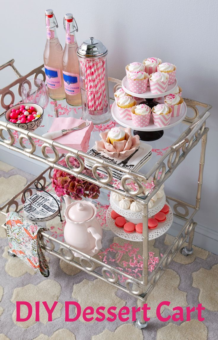 Bar cart makeover DIY: Surprise your guests with a #HomeGoodsHappy dessert cart! Add cake stands, colorful straws and napkins for a fun and festive update. For more entertaining inspiration, click through to our Design Happy blog.