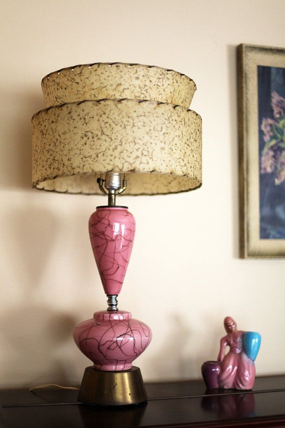 1950s table lamp pink spaghetti mid century by Retrocall on Etsy, €40.00