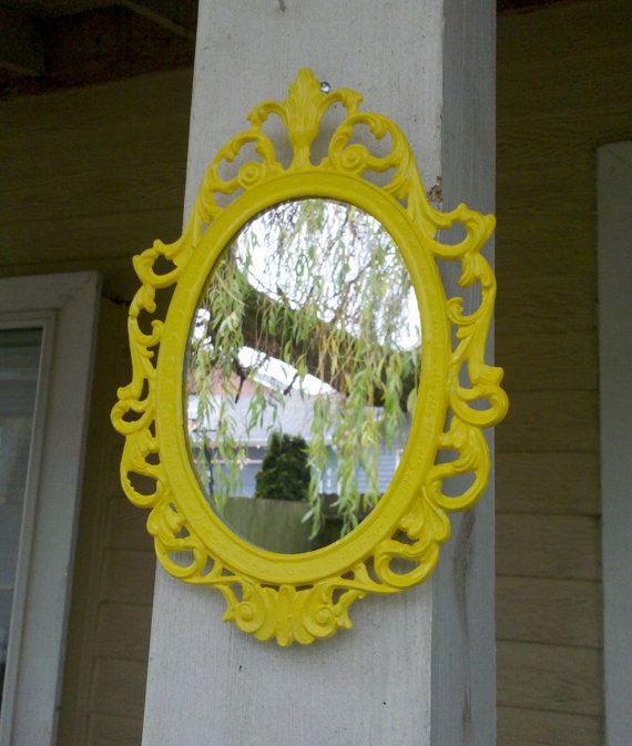 Small Fairy Princess Mirror in Sunny Yellow 8 x 5 Vintage Frame. $22.00, via Etsy.