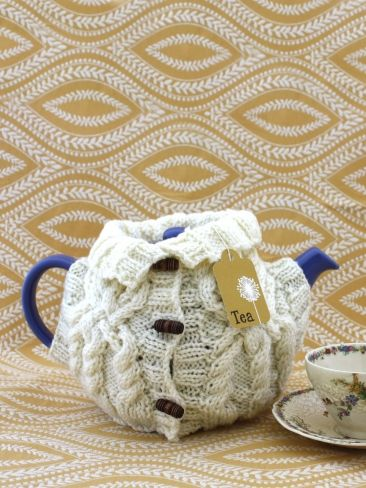 Aran Sweater Tea Cozy | Yarn | Free Knitting Patterns | Crochet Patterns | Yarnspirations
