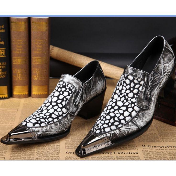 British retro grey pointed steel-toed men shoes high heel catwalk show shoe
