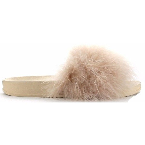 Cape Robbin Moira-2 Women Flip Flop Marabou Fur Slide Slip On Flats... ($28) ❤ liked on Polyvore featuring shoes, sandals, flip flops, slip on sandals, wide sandals, nude sandals, nude flat shoes and wide shoes