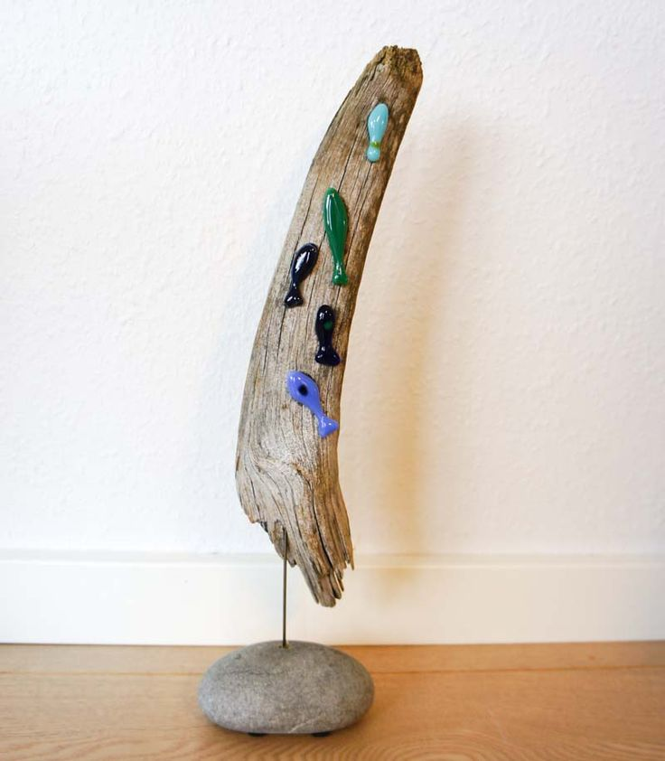 Fused glass fish on driftwood glass made by me for How to make stained glass in driftwood