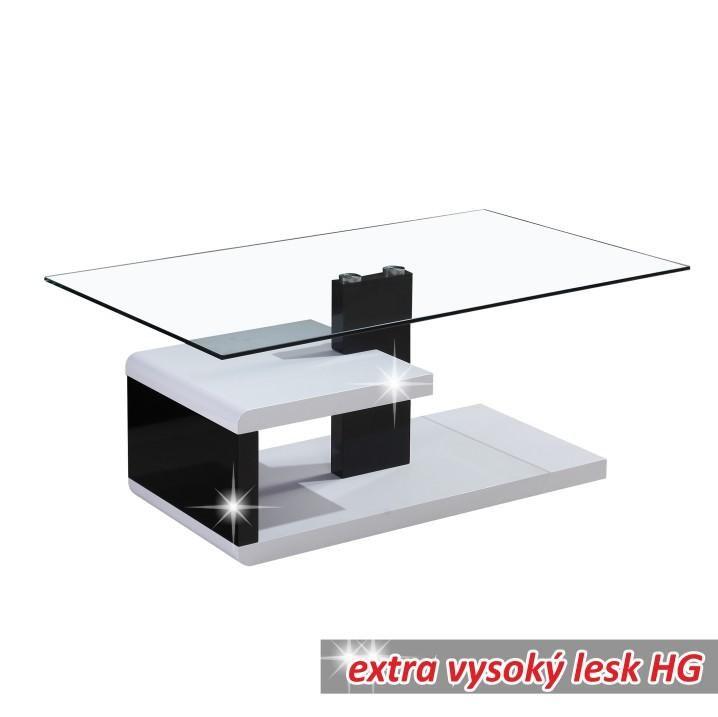 LARS - konferenčný stolík, biela/čierna, sklo, Tempo Kondela