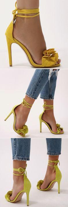Ruffle Sandal Heels in Lime Green