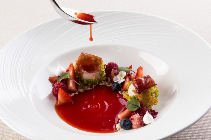 Strawberry Textures (Espuma, Consommé, Sorbet, Tuilies, Mousse, Crumble, Lyophilized) from the Stradivari Restaurant
