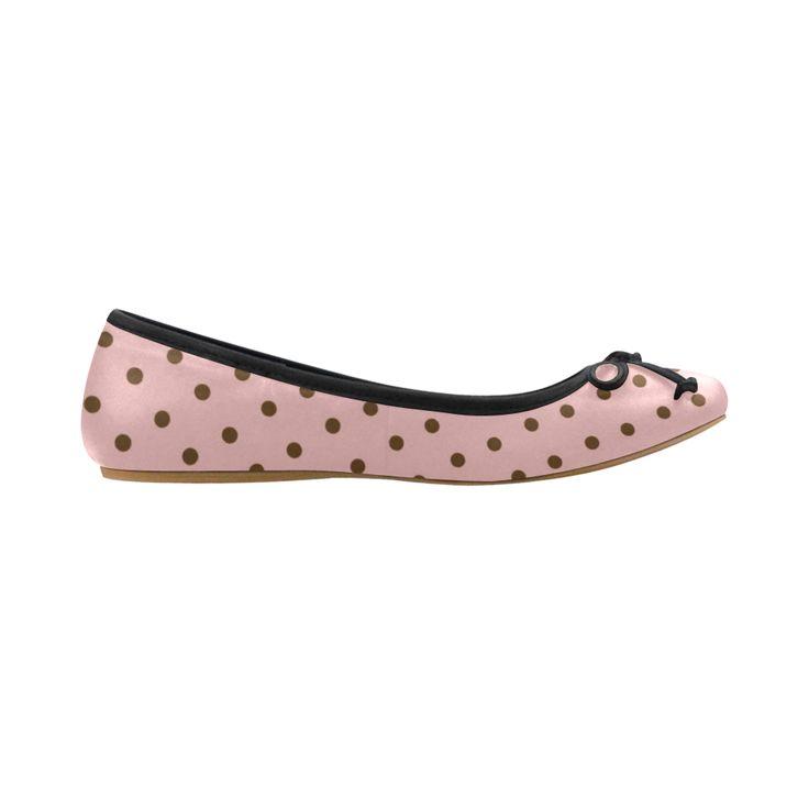Brown Pink Polka Dots, Vintage Polka Dot Pattern Juno Ballet Pumps (Model 312)