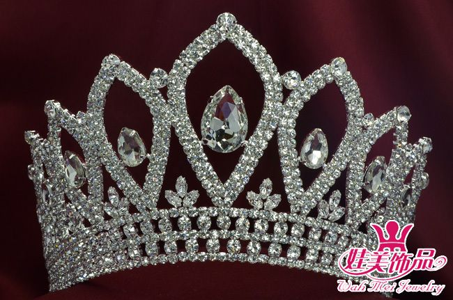 $100 CLEAR RHINESTONE FULL HAIR CROWN TIARA BEAUTY PAGEANT PARTY BRIDAL 00022M-in Hair Jewelry from Jewelry on Aliexpress.com