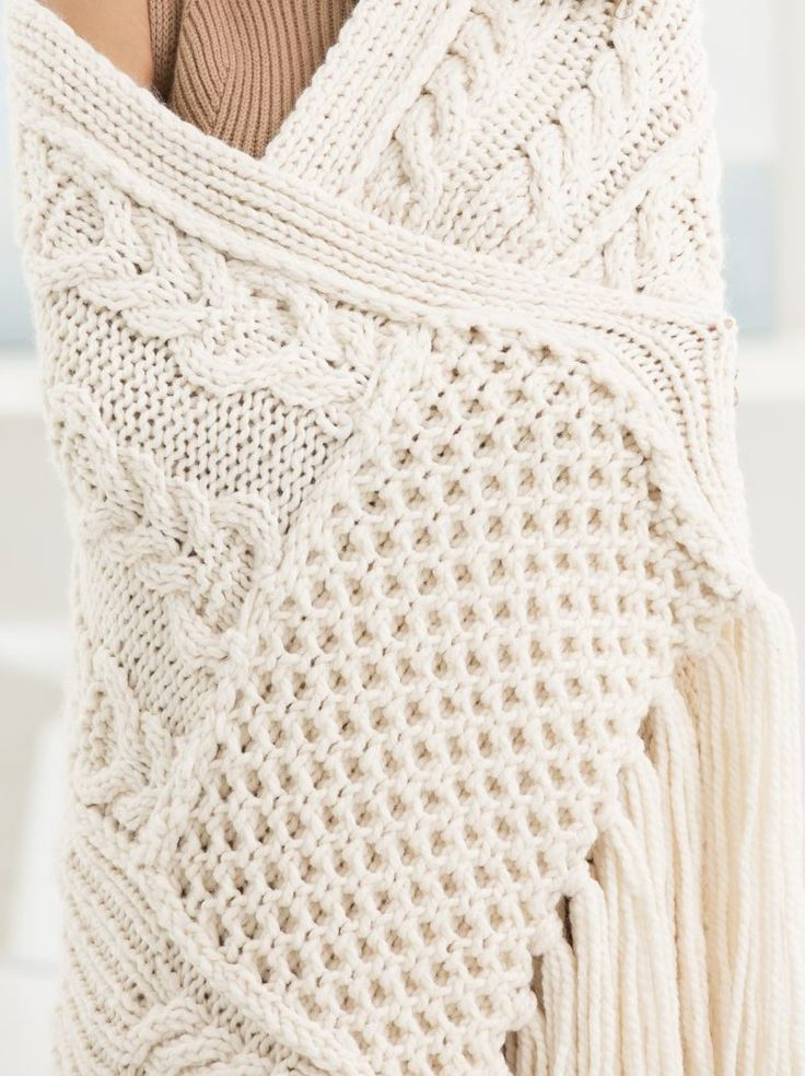 Free Knitting Pattern for Britta's Bay Afghan - I'm working on this now...Modular afghan is knit in pieces with 3 separate cable patterns so it's a great portable project. Quick knit in super bulky yarn. Designed by Lion Brand