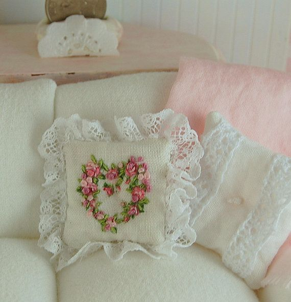 Dollhouse Shabby Chic Embroidered Heart Pillow With French Lace Shabby, Chic and Heart