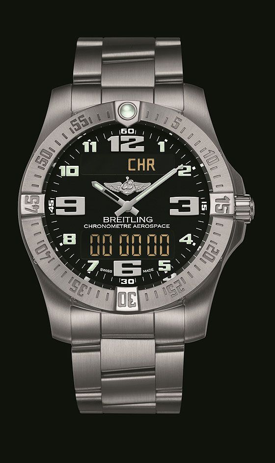 """The new Breitling Aerospace Evo, like its predecessor, is an analog-digital watch equipped with Breitling's Caliber 79, a """"SuperQuartz"""" movement that is chronometer-certified by COSC and 10 times more accurate, Breitling says, than a traditonal quartz movement."""