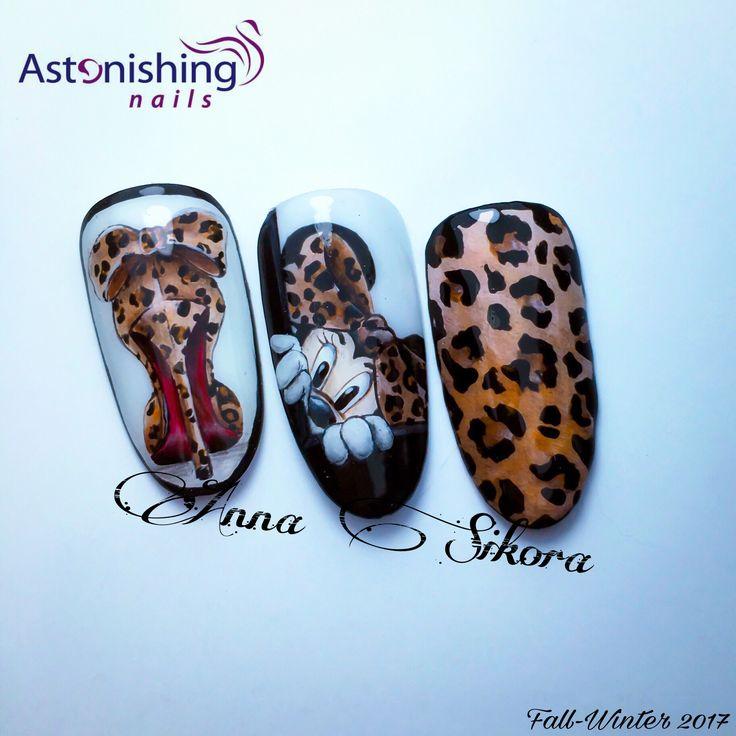 Leopard nail art trendy fall winter 2017 minnie shoes