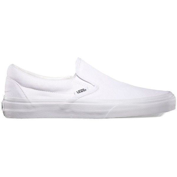 Vans Slip-On ($50) ❤ liked on Polyvore featuring shoes, sneakers, vans, white, slip-on shoes, low profile sneakers, vans shoes, canvas sneakers and white trainers