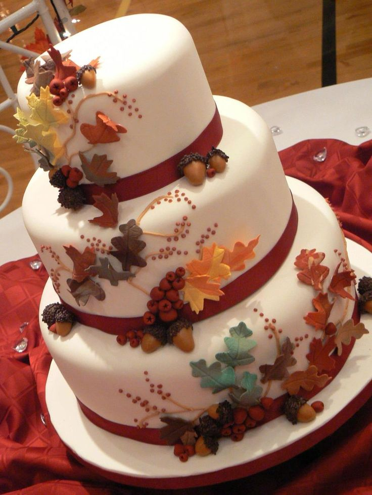 Fall Leaves  Fall Leaves Fall Leaves Wedding Cake  #fall #autumn-cake #cakecentral