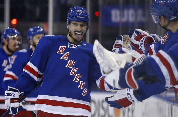 May 4, 2017; New York, NY, USA; New York Rangers left wing Chris Kreider (20) celebrates scoring a goal against the Ottawa Senators during the third period in game four of the second round of the 2017 Stanley Cup Playoffs at Madison Square Garden. Mandatory Credit: Adam Hunger-USA TODAY Sports
