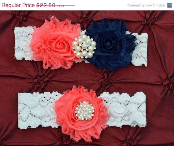 ON SALE Coral/Navy Wedding Garter Set