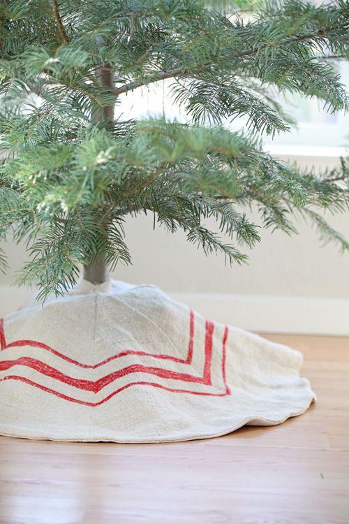 Primitive Christmas tree skirt  .... Red striped grain sack