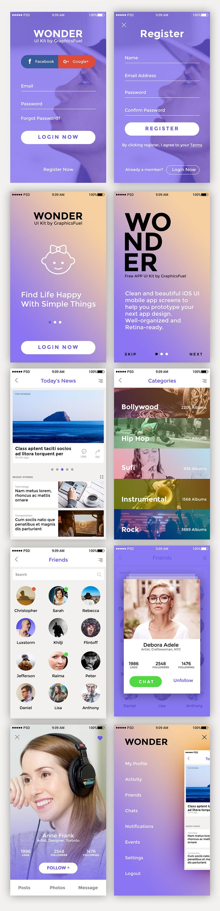 <p>Download 10 Premium App Screen UI Kit Free PSD. Freebie App UI kit containing a pack of 10 premium quality screens to make your app design prototype simple and easy. Each screen is fully editable and customizable, duly named, retina-ready and well-oganized in PSD format. The PSD files are neatly organized and the screens are categorized as sign-in and sign-up, walkthrough, news, categories, profiles, friends, and menu. Hope you like it. Enjoy!</p>