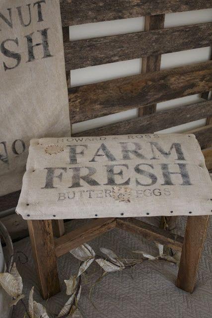 burlap covered foot stool  a fine farmhouse
