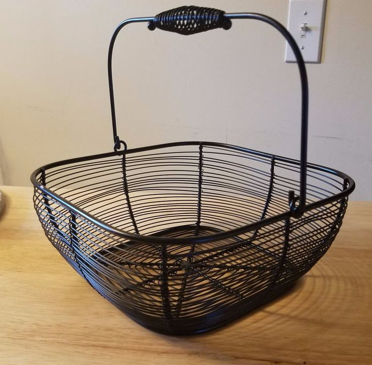 "Farmhouse 10"" Square Black Wire Basket Handle - Country Decor Kitchen Dining #Farmhouse"