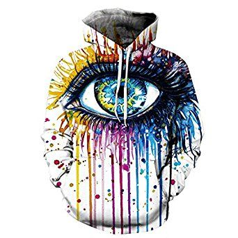 Retro Street Wear Hamsa Eye Illuminati Colorful Rainbow Unisex 3D Printing Hoodie Pullover Sweatshirt