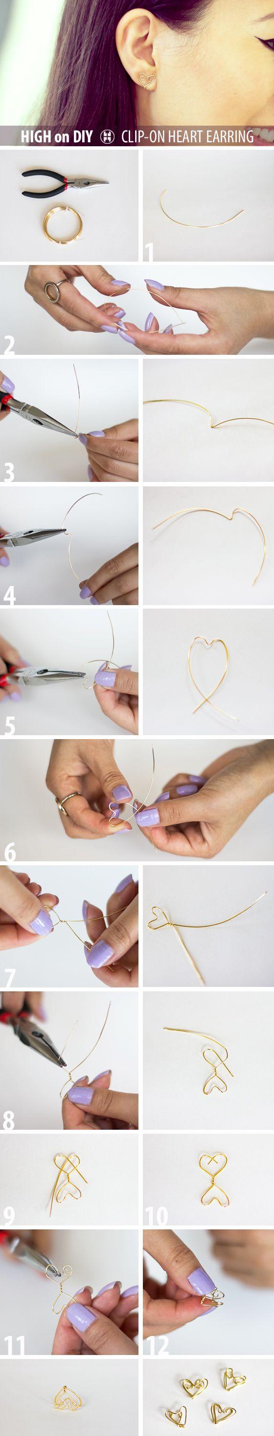 DIY Clip-On Heart Shape Earrings #DIY #Jewelry #Accessories