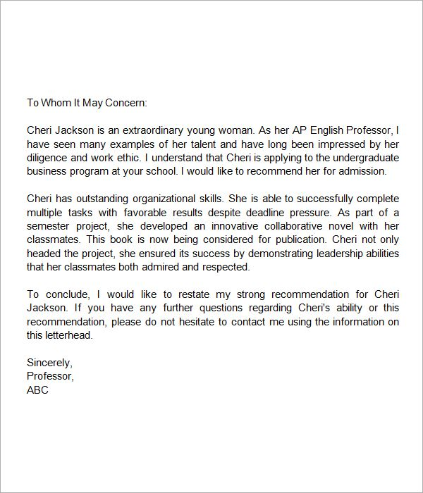 letter of recommendation for middle school student entering high school