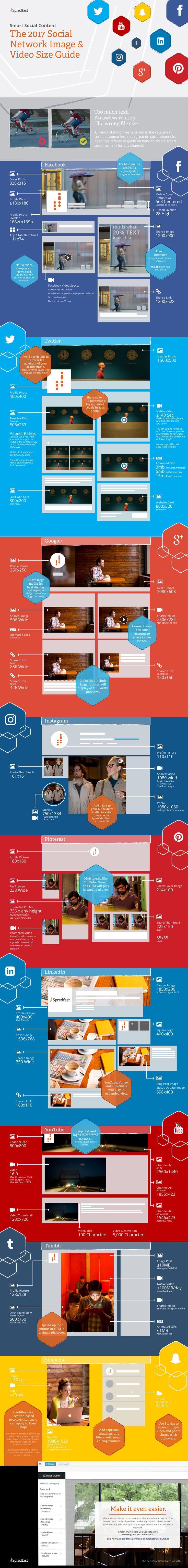 <p>Spredfast es la organización que se tomó la molestia de crear una gran infografía con las principales redes sociales y las medidas del tamaño de las imágenes y videos que se pueden agregar.</p>